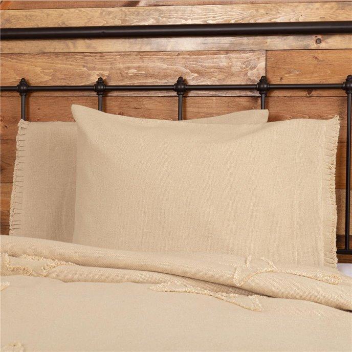 Burlap Vintage Standard Pillow Case w/ Fringed Ruffle Set of 2 21x30 Thumbnail