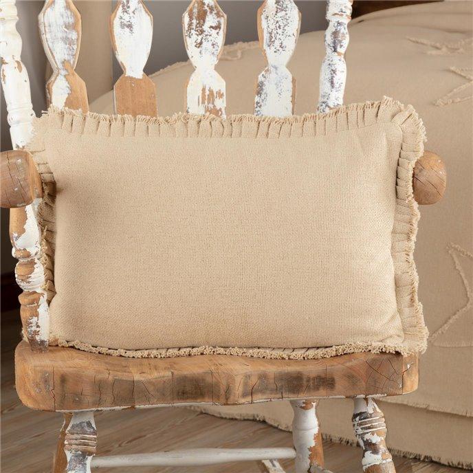 Burlap Vintage Pillow w/ Fringed Ruffle 14x22 Thumbnail