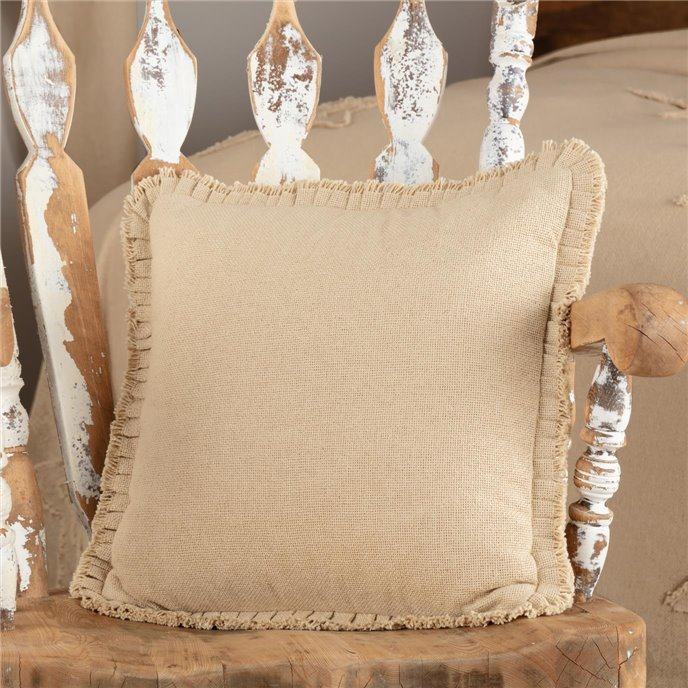 Burlap Vintage Pillow w/ Fringed Ruffle 18x18 Thumbnail