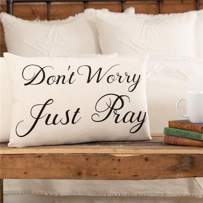 Casement Natural Don't Worry Just Pray Pillow 14x22 Thumbnail