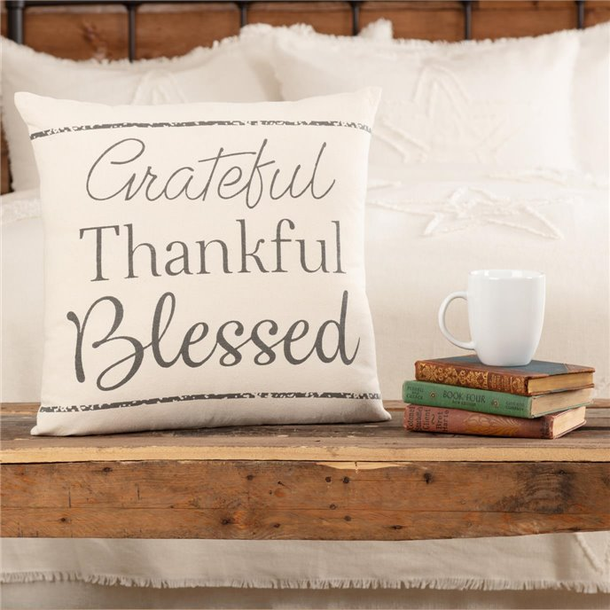 Casement Natural Grateful Thankful Blessed Pillow 18x18 Thumbnail