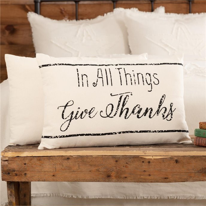 Casement Natural In All Things Give Thanks Pillow 14x22 Thumbnail