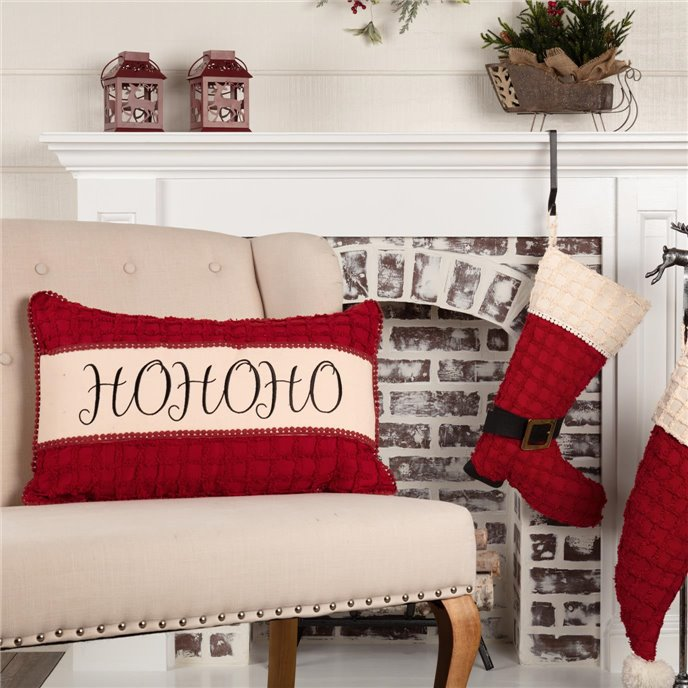 Chenille Christmas Ho Ho Ho Pillow 14x22 Thumbnail