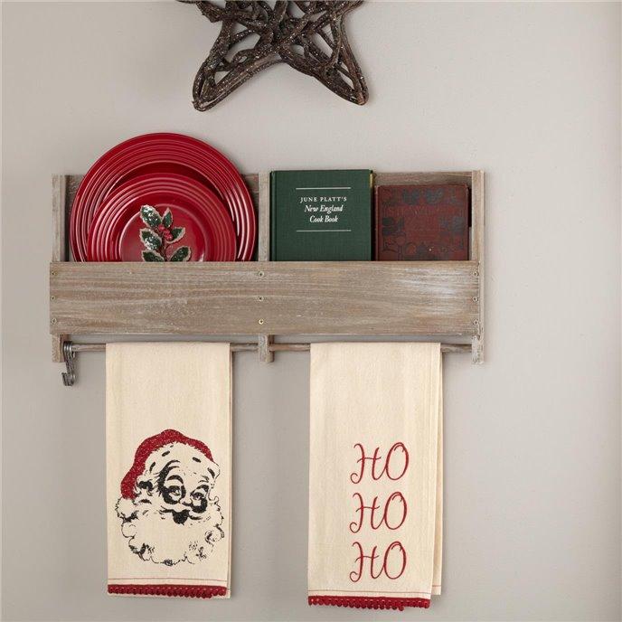 Chenille Christmas Ho Ho Ho Bleached White Muslin Tea Towel Set of 2 19x28 Thumbnail