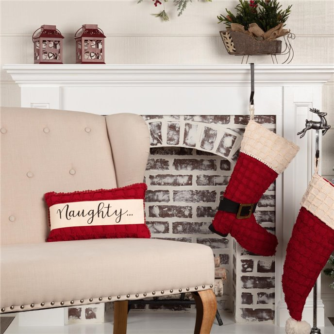 Chenille Christmas Naughty and Nice Pillow 7x13 Thumbnail