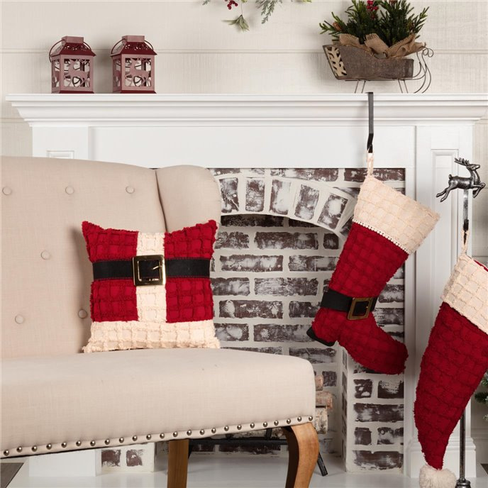 Chenille Christmas Santa Suit Pillow 12x12 Thumbnail