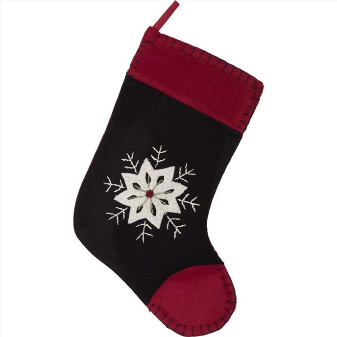Christmas Snowflake Stocking Felt Embroidered 11x15 Thumbnail