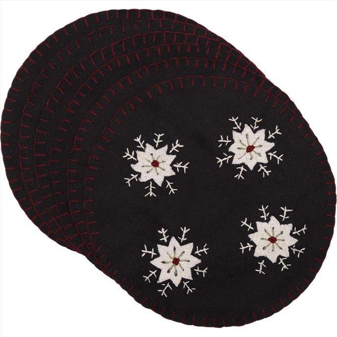 Christmas Snowflake Tablemat Felt Embroidered 13 Set of 6 Thumbnail