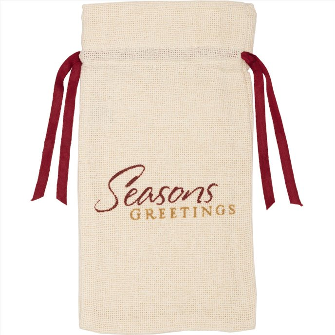 Creme Burlap Wine Bag Seasons Greetings 13x6.5 Thumbnail
