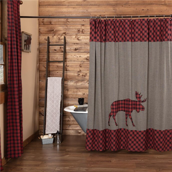 Cumberland Moose Applique Shower Curtain 72x72 Thumbnail
