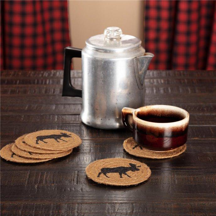 Cumberland Stenciled Moose Jute Coaster Set of 6 Thumbnail