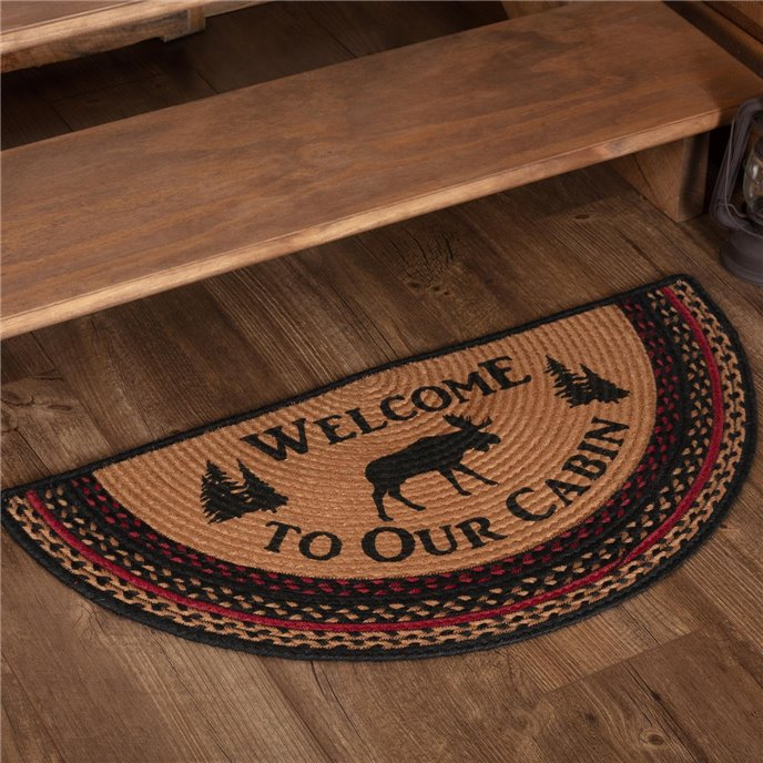 Cumberland Stenciled Moose Jute Rug Half Circle Welcome to the Cabin 16.5x33 Thumbnail