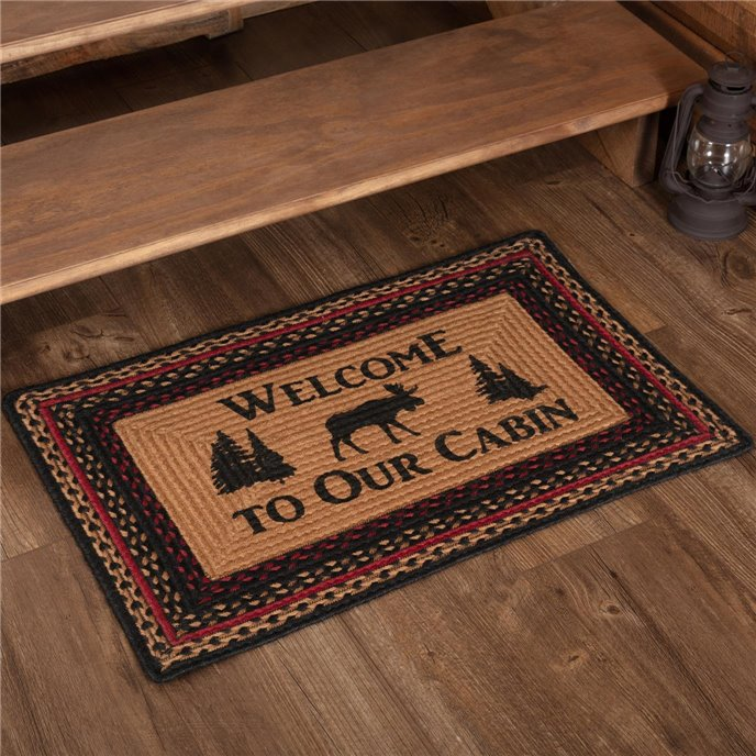 Cumberland Stenciled Moose Jute Rug Rect Welcome to the Cabin 20x30 Thumbnail