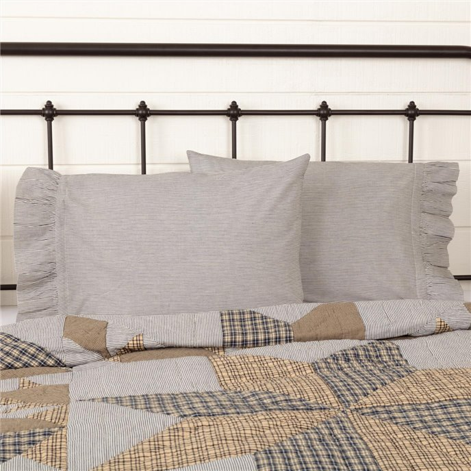 Dakota Star Farmhouse Blue Ticking Stripe Standard Pillow Case Set of 2 21x30 Thumbnail