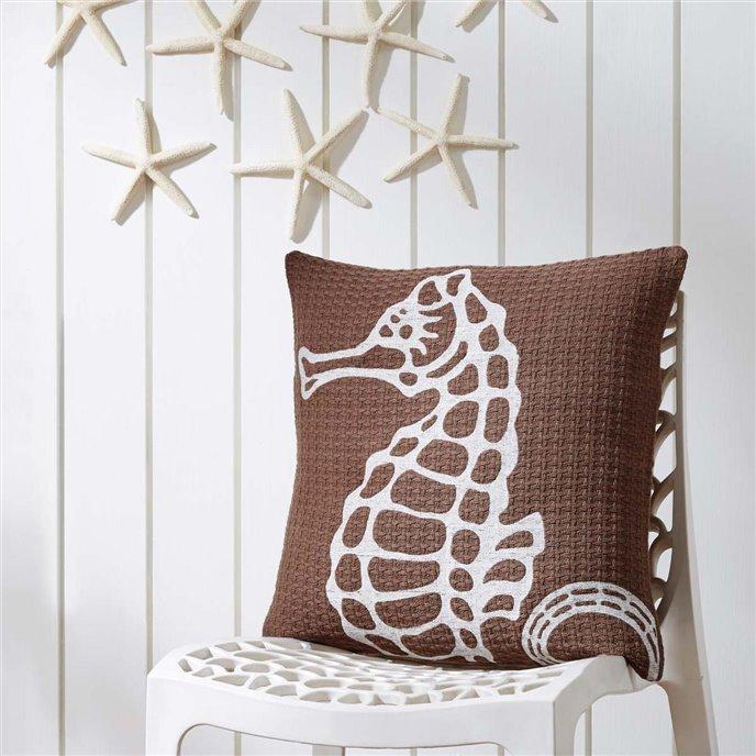 Embroidered Seahorse Pillow 18x18 Thumbnail