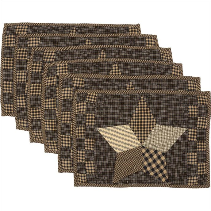 Farmhouse Star Placemat Quilted Set of 6 12x18 Thumbnail