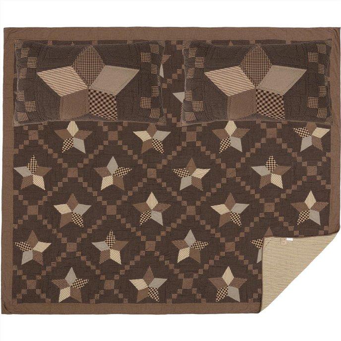 Farmhouse Star King Quilt Set; 1-Quilt 110Wx97L w/2 Shams 21x37 Thumbnail