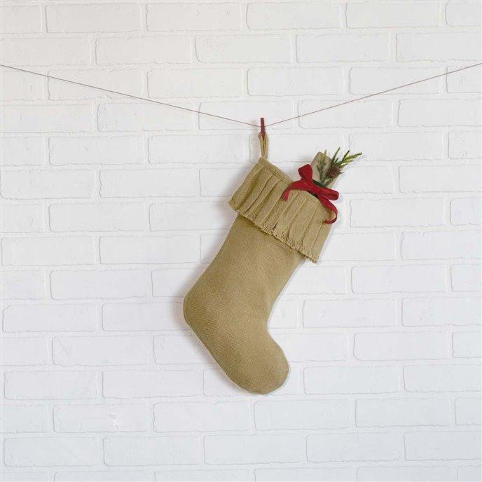 Festive Natural Burlap Ruffled Stocking 11x15 Thumbnail
