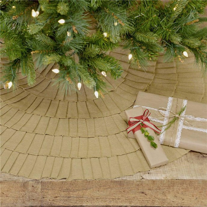 Festive Natural Burlap Ruffled Tree Skirt 48 Thumbnail