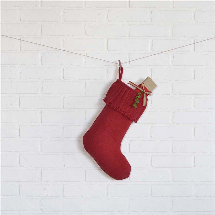 Festive Red Burlap Ruffled Stocking 11x15 Thumbnail