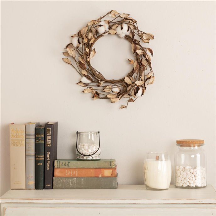 Cotton Wreath 12in Thumbnail