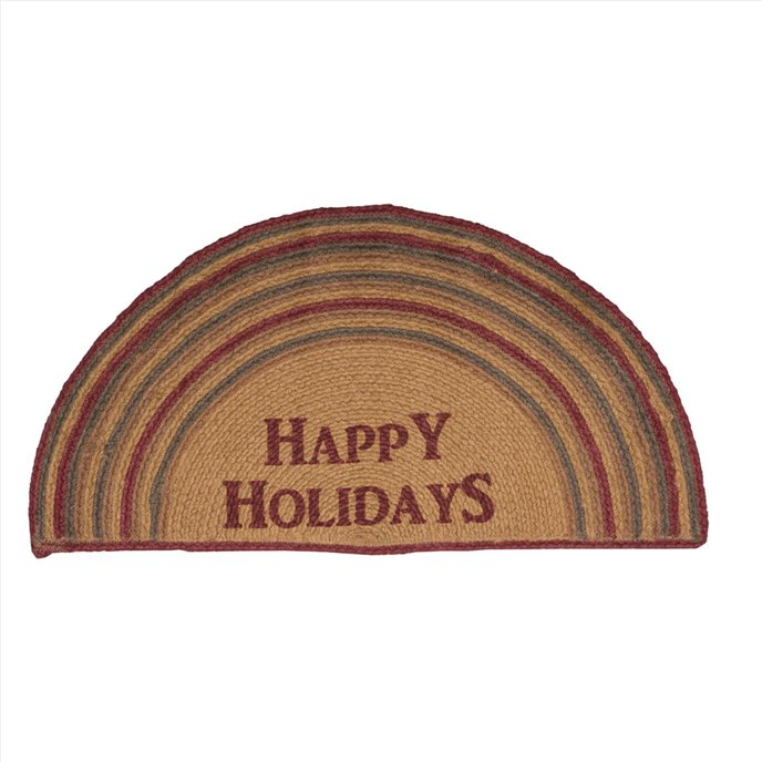 Happy Holidays Stencil Jute Rug Half Circle 16.5x33 Thumbnail