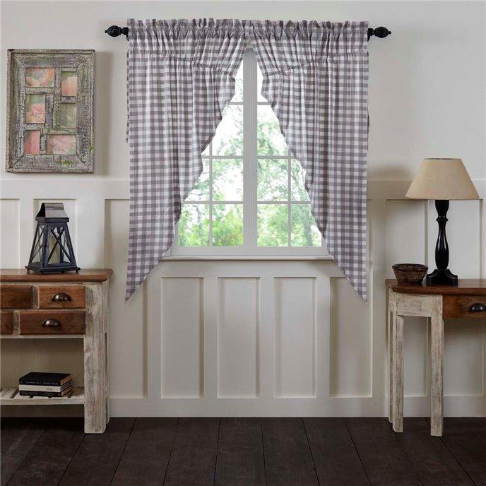 Annie Buffalo Grey Check Prairie Curtain Set of 2 63x36x18 Thumbnail