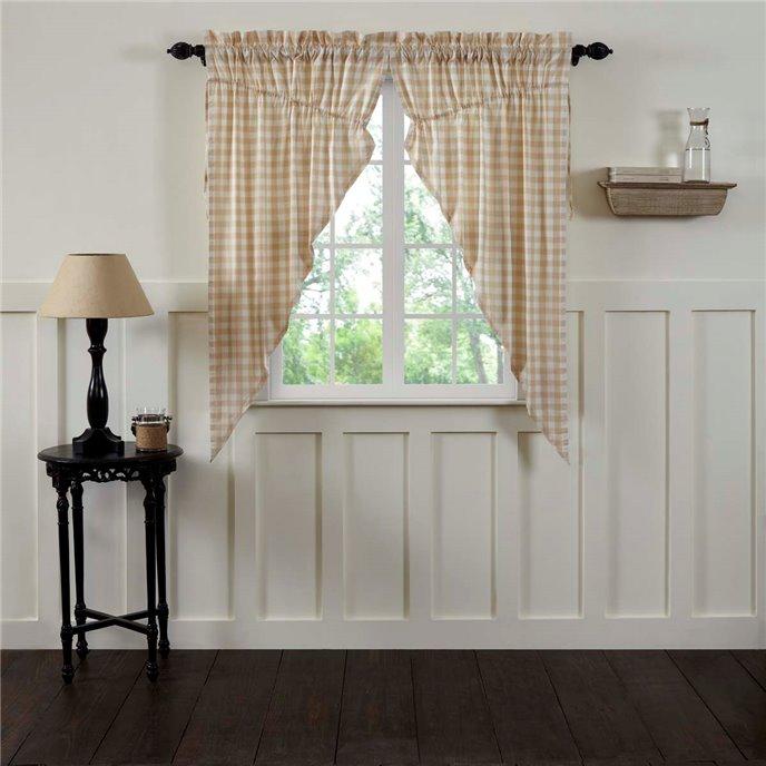 Annie Buffalo Tan Check Prairie Curtain Set of 2 63x36x18 Thumbnail