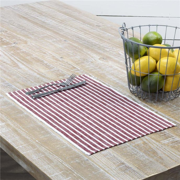 Harmony Red Ribbed Placemat Set of 6 12x18 Thumbnail