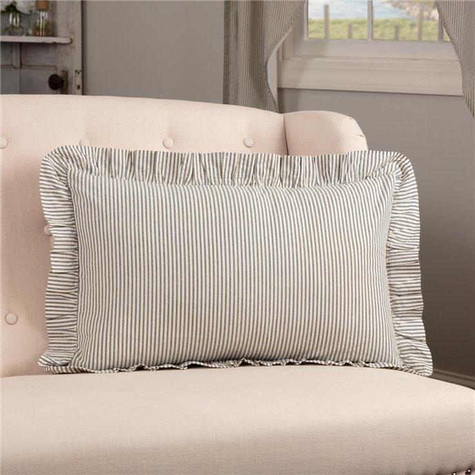 Hatteras Seersucker Blue Ticking Stripe Fabric Pillow 14x22 Thumbnail