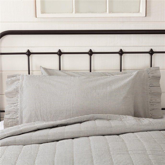 Hatteras Seersucker Blue Ticking Stripe King Pillow Case Set of 2 21x40 Thumbnail