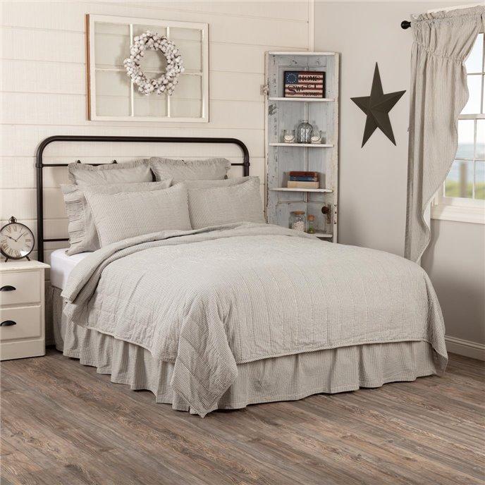 Hatteras Seersucker Blue Ticking Stripe Queen Quilt Coverlet 90Wx90L Thumbnail