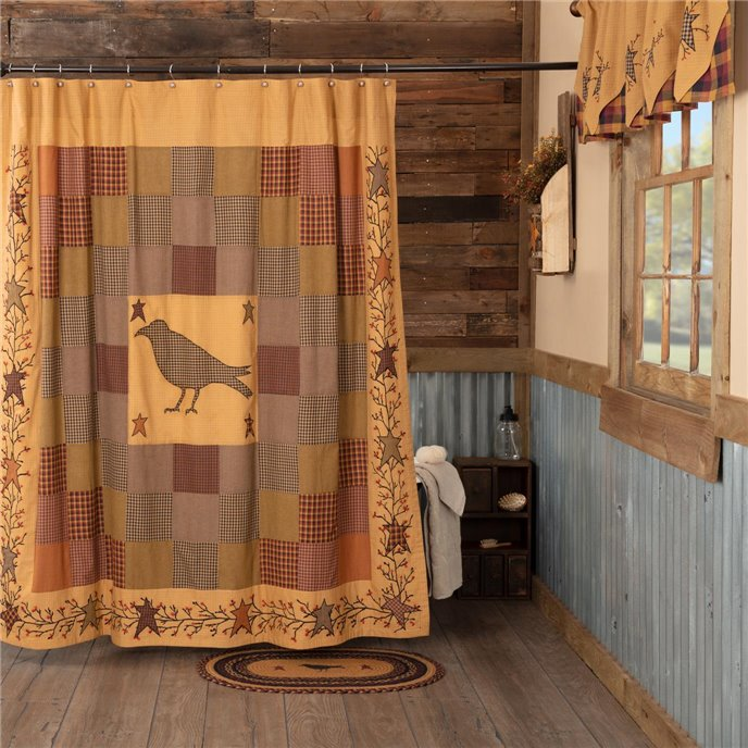 Heritage Farms Applique Crow and Star Shower Curtain 72x72 Thumbnail