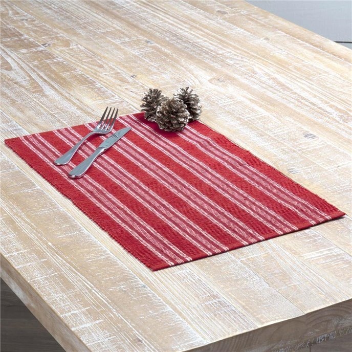 Holly Red Ribbed Placemat Set of 6 12x18 Thumbnail