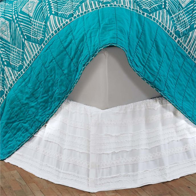 Jasmine White Twin Bed Skirt 39x76x16 Thumbnail