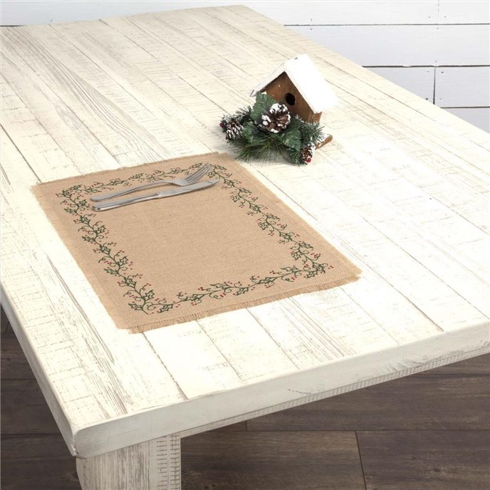 Jute Burlap Ivy Placemat Set of 6 12x18 Thumbnail