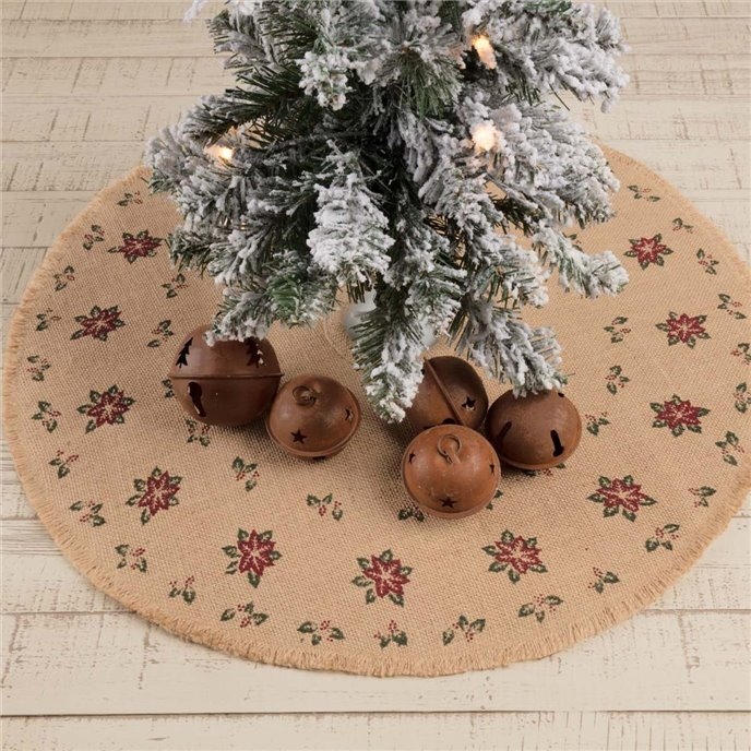 Jute Burlap Poinsettia Mini Tree Skirt 21 Thumbnail