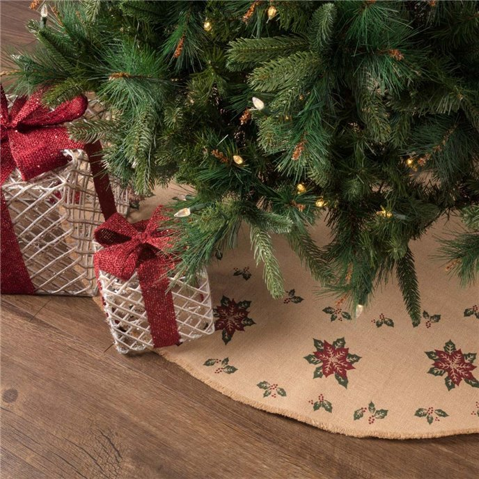 Jute Burlap Poinsettia Tree Skirt 48 Thumbnail