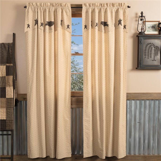 Kettle Grove Panel with Attached Applique Crow and Star Valance Set of 2 84x40 Thumbnail