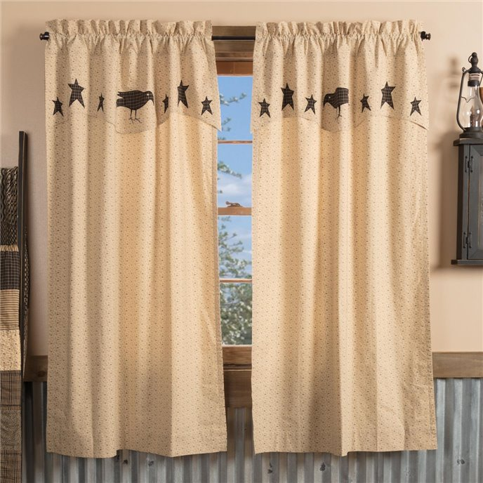 Kettle Grove Short Panel with Attached Applique Crow and Star Valance Set of 2 63x36 Thumbnail