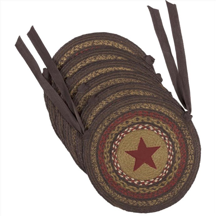 Landon Jute Applique Star Chair Pad Set of 6 Thumbnail