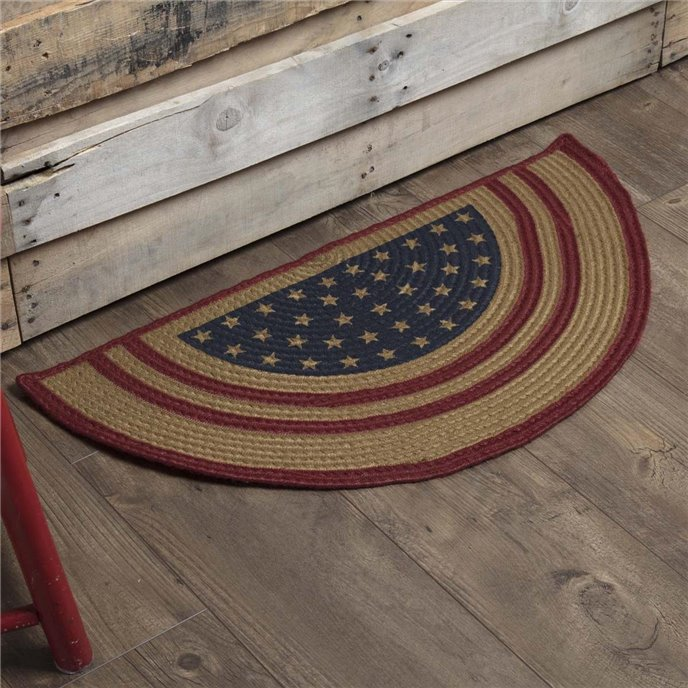 Liberty Stars Flag Jute Rug Half Circle 16.5x33 Thumbnail