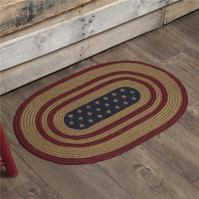 Liberty Stars Flag Jute Rug Oval 20x30 Thumbnail