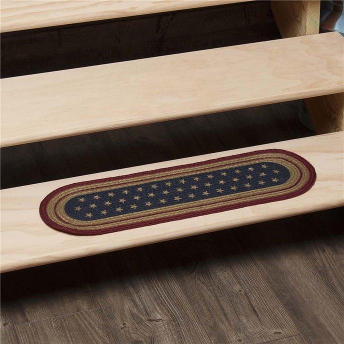 Liberty Stars Flag Jute Stair Tread Oval Latex 8.5x27 Thumbnail