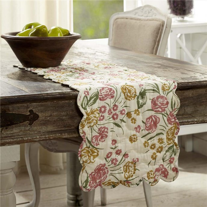 Madeline Floral Quilted Runner 13x36 Thumbnail