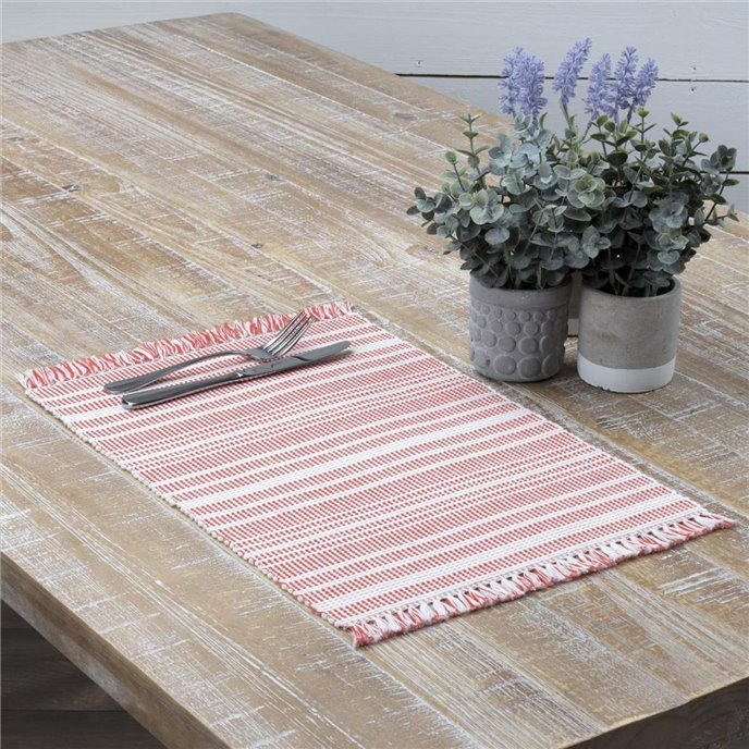 Madeline Red Ribbed Placemat Set of 6 12x18 Thumbnail