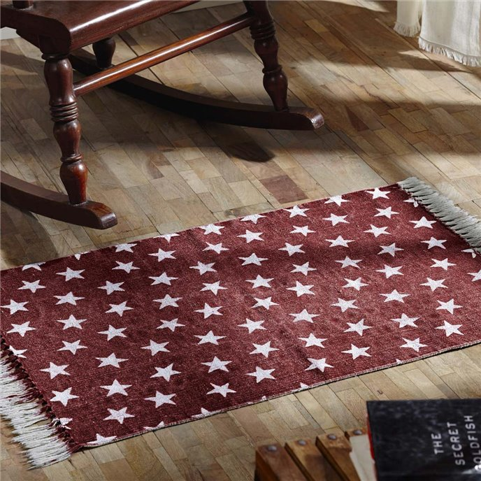 Multi Star Red Cotton Rug Rect 20x30 Thumbnail