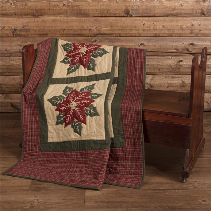 National Quilt Museum Poinsettia Block Quilted Throw 60x50 Thumbnail