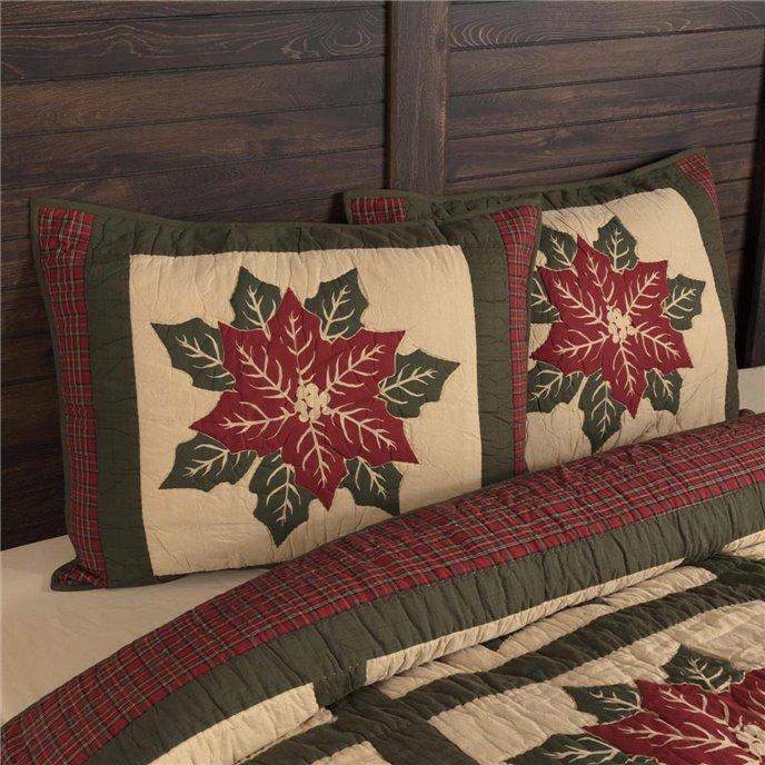 National Quilt Museum Poinsettia Block Standard Sham 21x27 Thumbnail