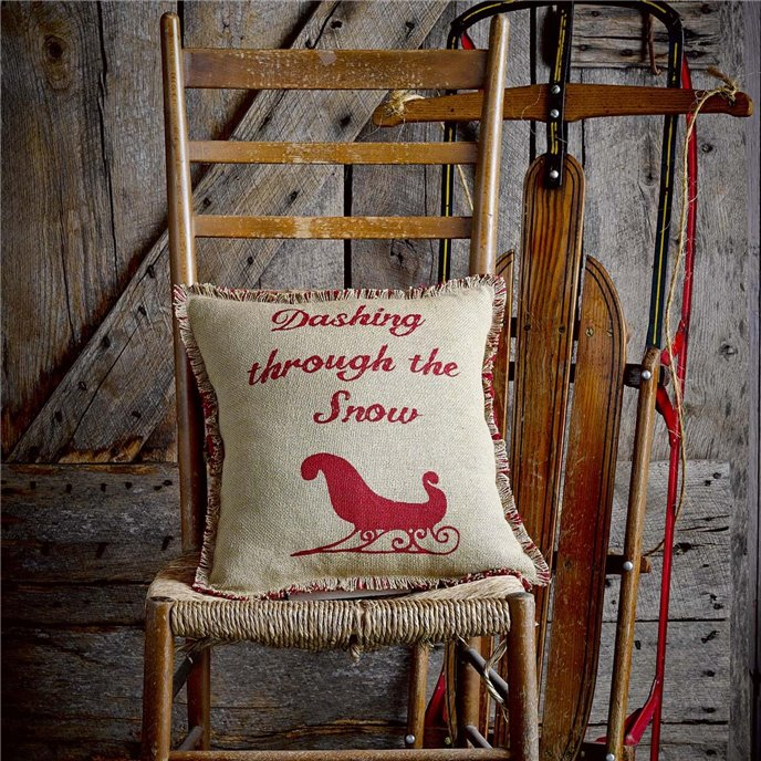 Natural & Red Burlap Sleigh Pillow 16x16 Thumbnail
